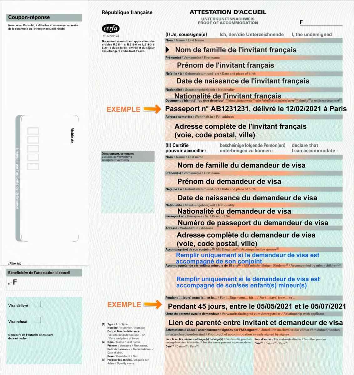 Comment remplir le certificat d'hébergement pour visa France